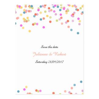 Festive Colourful Confetti Save the Date Postcard