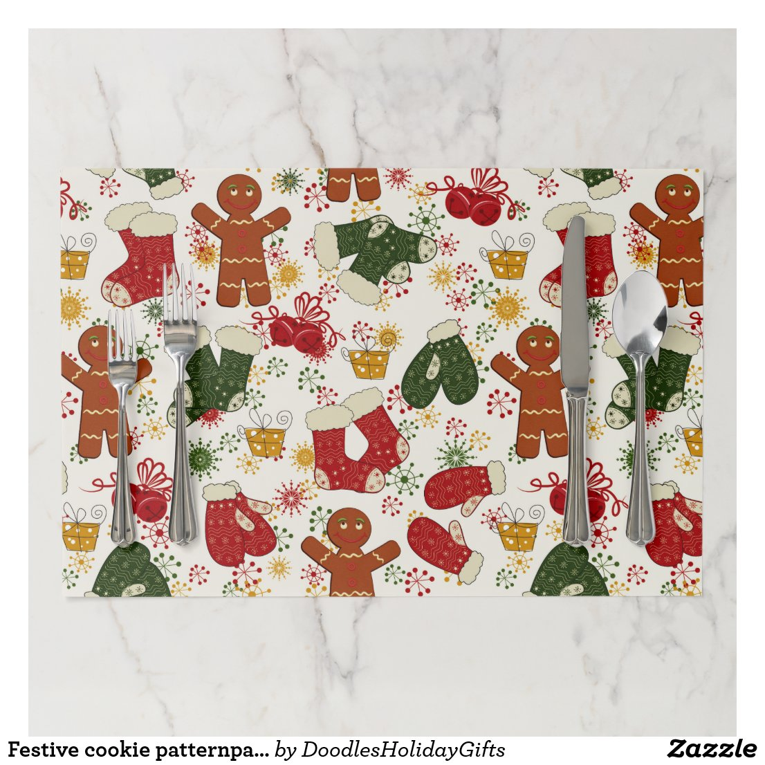 Festive cookie patternparty Christmas placemat