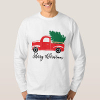 Festive Country truck Holiday mens t-shirt