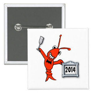 Festive Crawfish Lobster 2014 New Year Button