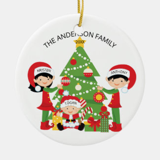 Festive Cute Family of 3 Personalized Christmas Ceramic Ornament