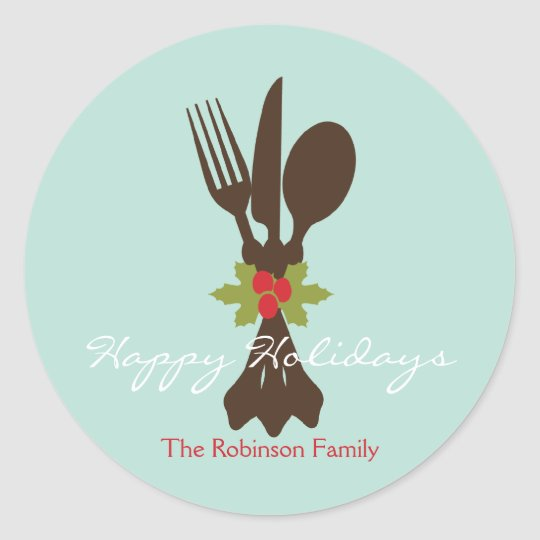 Festive Cutlery Holiday Favor Stickers