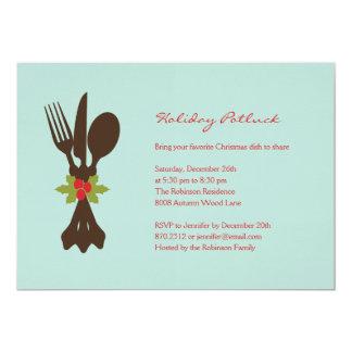 Festive Cutlery Holiday Party Invitation Card