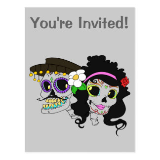 Festive Day of the Dead Art Postcard