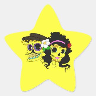 Festive Day of the Dead Art Star Sticker