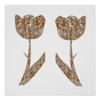 Festive decorations -  Tulips Gold Silver Engraved Print