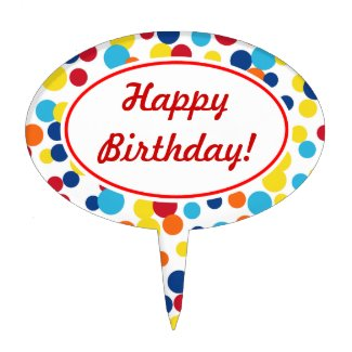 Festive Dots Birthday Cake Topper