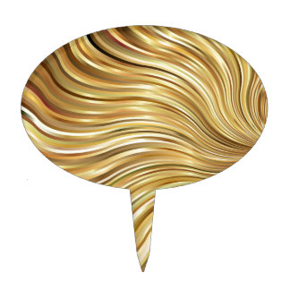 Festive Elegant  Gold Abstract Flowing Stripes Cake Topper