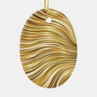 Festive Elegant  Gold Abstract Flowing Stripes Ceramic Ornament