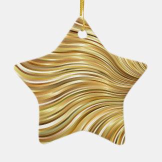 Festive Elegant Gold Abstract Flowing Stripes Star Ceramic Ornament