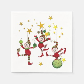 Festive Elves Christmas Disposable Napkin