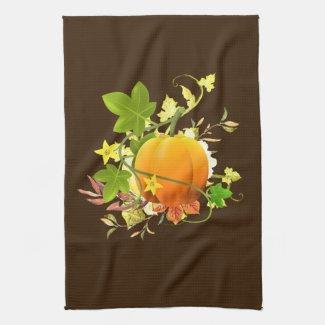 Festive Fall Leaves with Pumpkin Seasonal Decor Kitchen Towel