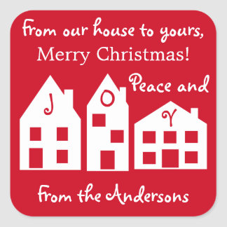 Festive family Christmas houses Square Sticker