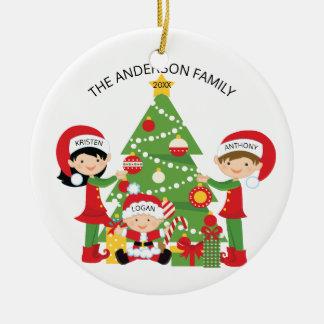 Festive Family of 3 Personalized Christmas Ceramic Ornament