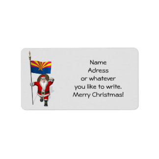 Festive Father Christmas Visiting Arizona Label
