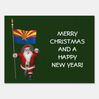 Festive Father Christmas Visiting Arizona Lawn Sign