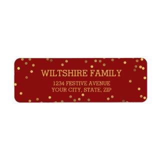Festive Faux Gold Foil Confetti Red Label