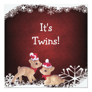 Festive Fawns Twins Christmas Baby Shower Personalized Announcements