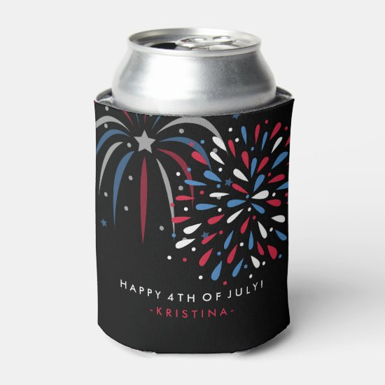 Festive Fireworks 4th of July Personalized Can Cooler