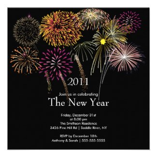 Festive Fireworks New Year Party Invitation