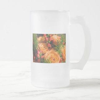 Festive Floral Arrangement Frosted Glass Beer Mug