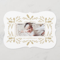 Festive Floral Frame Holiday Photo Card