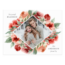 Festive Floral | Holiday Photo Postcard