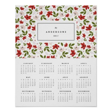 Professional Business Festive Florals 16x20 2017 Yearly Calendar Poster