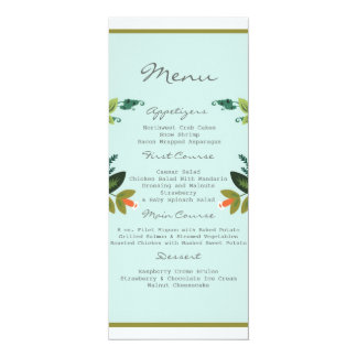 Festive Florals - Baby Blue + Olive / Apple Green Card