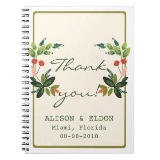 Festive Florals - Cream + Olive / Apple Green Spiral Notebook
