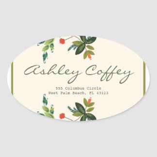 Festive Florals - Cream + Olive / Apple Green Oval Sticker