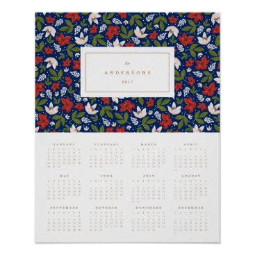 Professional Business Festive Florals in Navy 16x20 2017 Yearly Calendar Poster