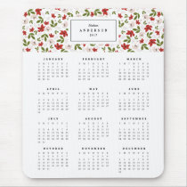 Festive Florals Yearly Calendar Mousepad