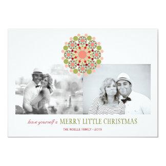 Festive Flower Merry Little Christmas Greetings 4.5x6.25 Paper Invitation Card