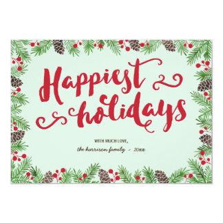 Festive Foliage   Calligraphy Holiday Non-Photo 5x7 Paper Invitation Card
