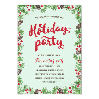Festive Foliage | Calligraphy Holiday Party 5x7 Paper Invitation Card