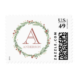 Festive Foliage Christmas Monogrammed Stamp