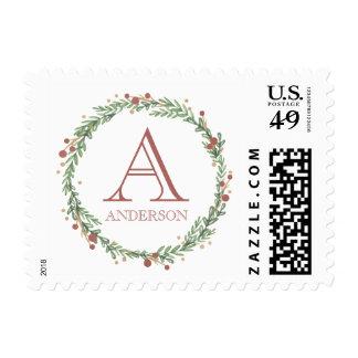 Festive Foliage Christmas Monogrammed Stamp