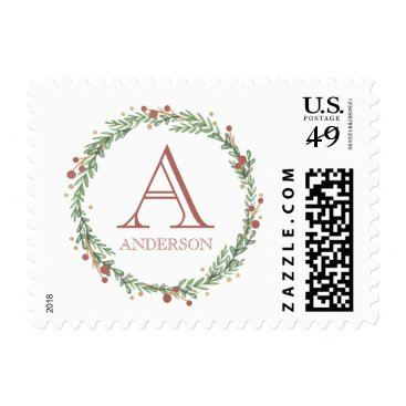 Christmas Themed Festive Foliage Christmas Monogrammed Stamp