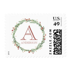 Festive Foliage Christmas Monogrammed Stamp at Zazzle
