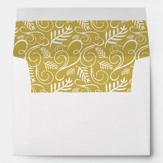 Festive Foliage Deco Frame Gold Holiday Envelope