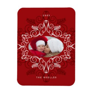Festive Foliage Deco Frame Holiday Photo Magnet