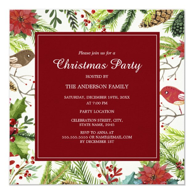 Festive Forest Christmas Party Invitation