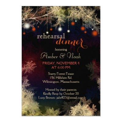 Festive Forest Lights Wedding Rehearsal Dinner 5x7 Paper Invitation Card