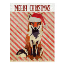 FESTIVE FOX Candy Cane Postcard