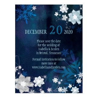 Festive Frosty Winter Wedding Save the Date Postcard