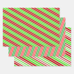 [ Thumbnail: Festive & Fun Christmas Colors Striped Pattern Wrapping Paper Sheets ]