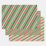[ Thumbnail: Festive, Fun, Christmas Colors Striped Pattern Wrapping Paper Sheets ]