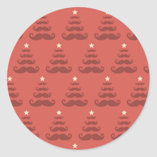 Festive Funny Mustache Christmas Tree & Star Classic Round Sticker