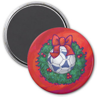 Festive Futbal in Wreath on Red 3 Inch Round Magnet